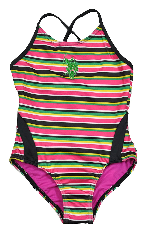 US Polo Assn Girls Fuchsia//Multicolor Stripe One Piece Swimsuit