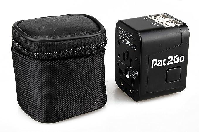 Pac2Go Adaptador de Viaje Universal con Cargador USB Quad ...