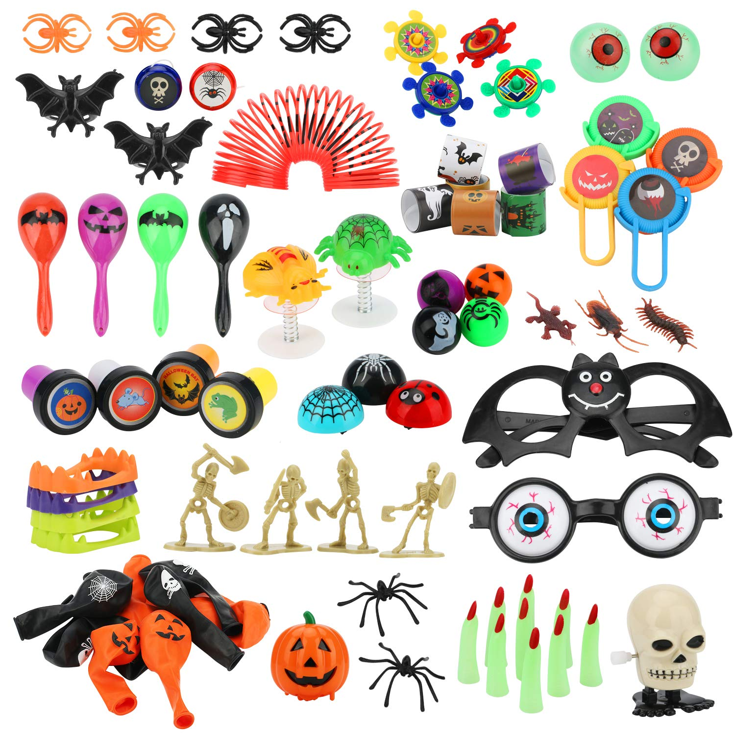 100 Pieces Halloween Toys Assortment for Treasure Boxes Trick or Treat Bags Goodie Bags Halloween Party Favors by APPHOME