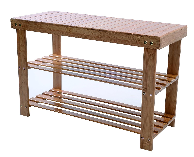 Melange 612409785053 100% Natural Bamboo Shoe Storage Bench Extra-Strong MOSO Bamboo Entryway Shelf Rack Versatile Wooden Organizer