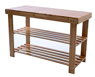 Melange 100% Natural Bamboo Shoe Storage Bench | Extra Strong MOSO Bamboo  Entryway Shelf