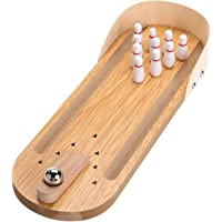 Simple Days Wooden Mini Bowling Game Tabletop Toy Set for Adults and Kids