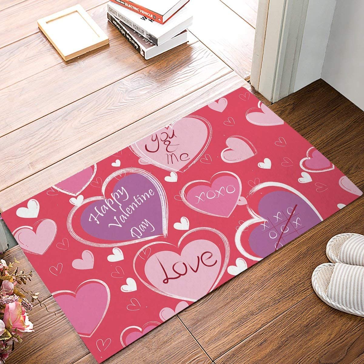 FAMILYDECOR Non Slip Doormat Entrance Mat Indoor Outdoor Front Door Bathroom Valentine s Day Theme Heart-Shaped Pattern Printed Floor Welcome Mat, You and Me Love, Purple and Pink White 20x32in