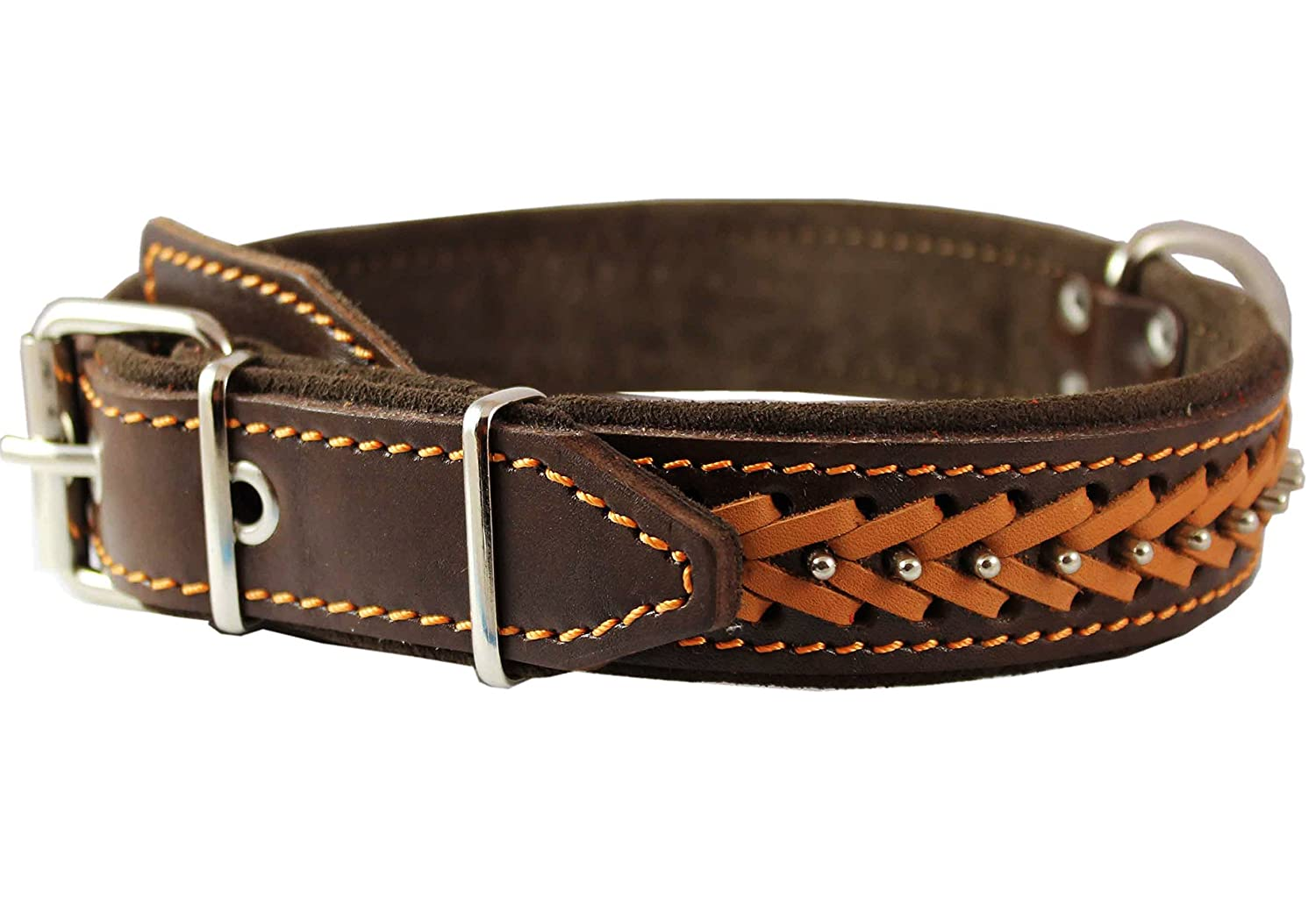Genuine Leather Braided Studded Dog Collar, Brown 1.5  Wide. Fits 17 -22  Neck.