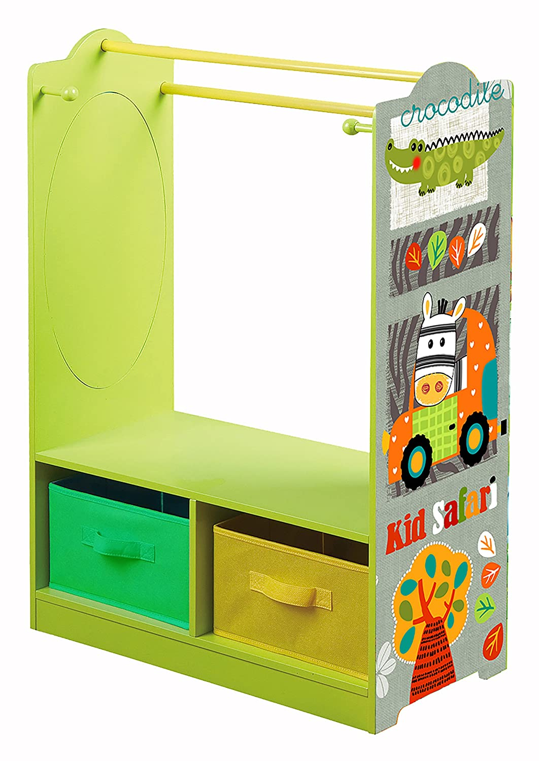Liberty House Juguetes Kid Safari Dress Up de Almacenamiento, Madera, Verde/Naranja