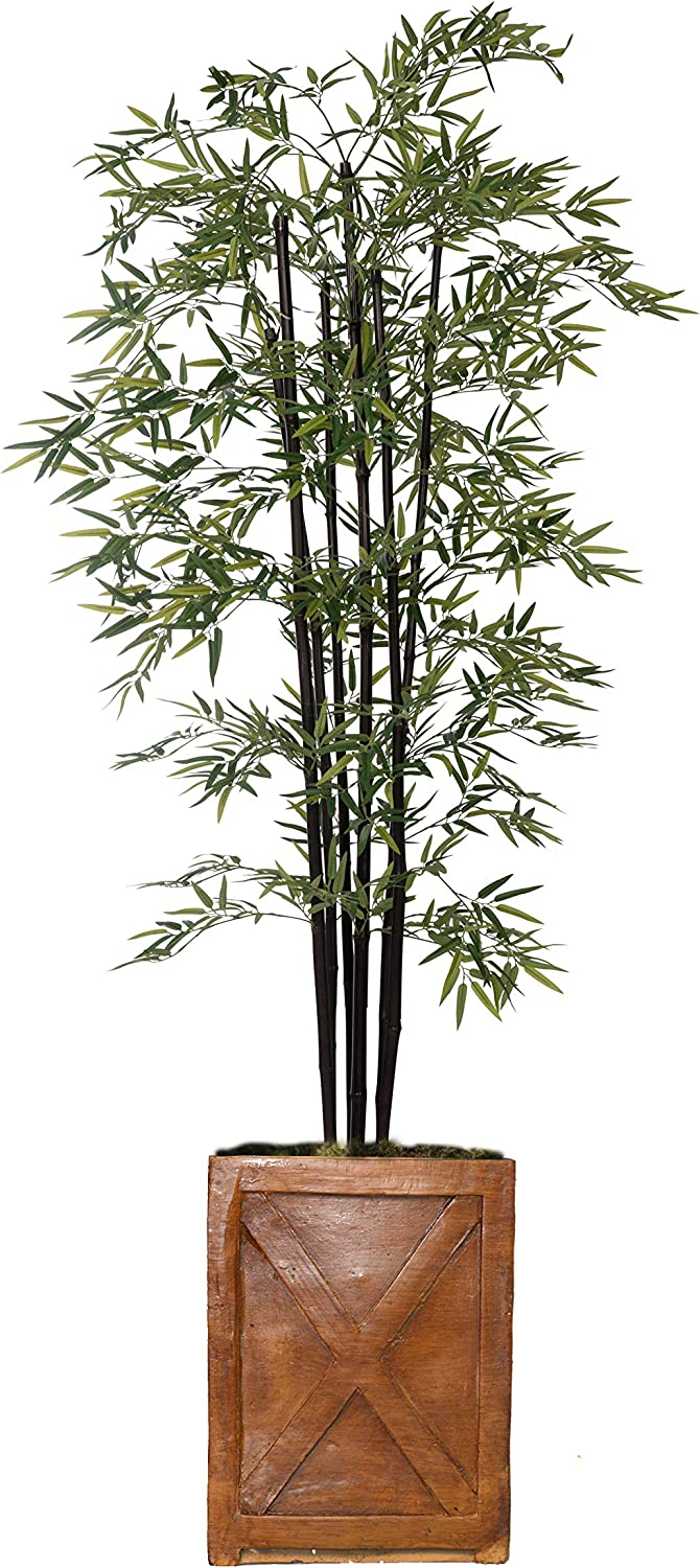Vintage Home Green Emerald Artificial Faux Bamboo Tree with Fiberstone Planter for Home Decor, 81