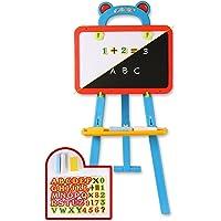 ToyThrill Caballete de pizarrón para niños 3 en 1 GIS Reversible, borrado en seco magnético y pizarrón de Pintura con GIS, Borrador y 84 números de imán, Letras y símbolos de Mate.