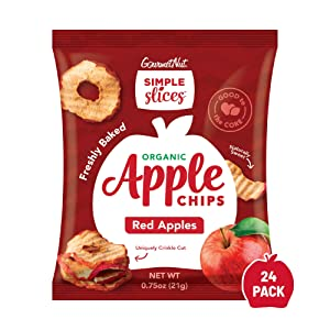 Gourmet Nut Simple Slices Organic Baked Apple Chips, USA Grown Apples, No Added Sugar, Red Apples, .75oz (Pack of 24)