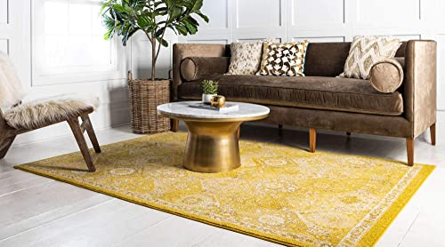 Unique Loom Penrose Collection Distressed Traditional Vintage Yellow Area Rug 9 0 x 12 0
