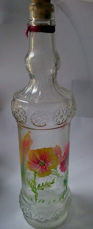 MaJe ceramista botella blanca decorada con amapolas rojas: Amazon.es: Handmade