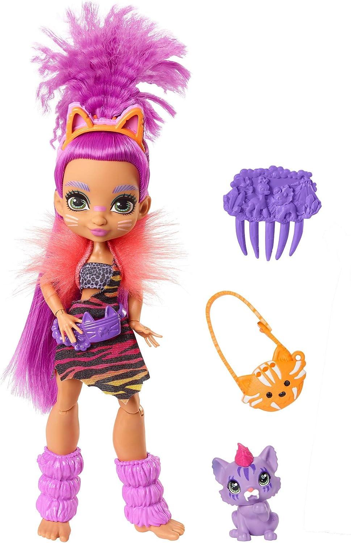Cave Club Muñeca Roaralai, muñeca prehistórica con mascota y accesorios (Mattel GNL84)