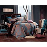 Dolce Mela DM477Q Jacquard Damask Luxury Bedding Duvet Covet Set, Queen