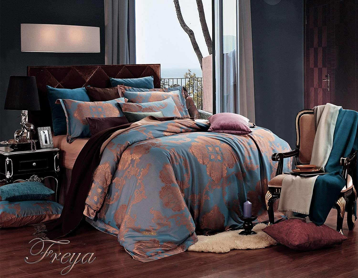 Jacquard Damask Luxury Bedding Duvet Covet Set, King