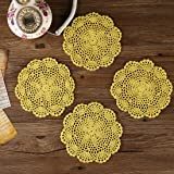 Placemats,ZORJAR Heat-resistant Placemats Stain Resistant Cotton Table Mats Placemats7 Inch,Set of 4(Yellow)