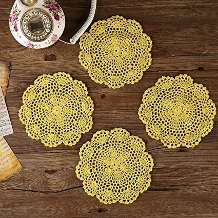 Hot Round Cotton Lace Table Place Mat Pad Cloth Crochet Placemat Cup Dining Coaster Christmas Mug Dish Tea Coffee Doily Kitchen Products Hot Sale Home & Garden