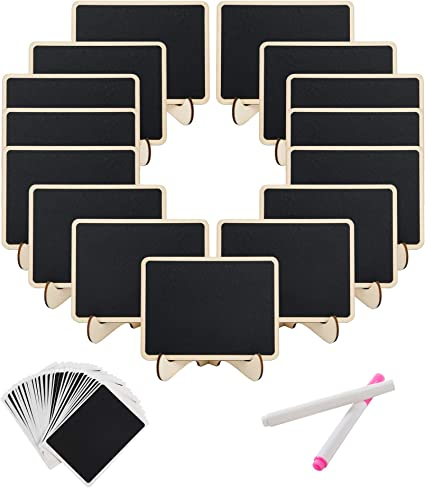 SeMorrow - Mini carteles de pizarra con soporte para alimentos, boda y fiesta de graduación, números de mesa y decoración de eventos especiales (15 unidades): Amazon.es: Oficina y papelería