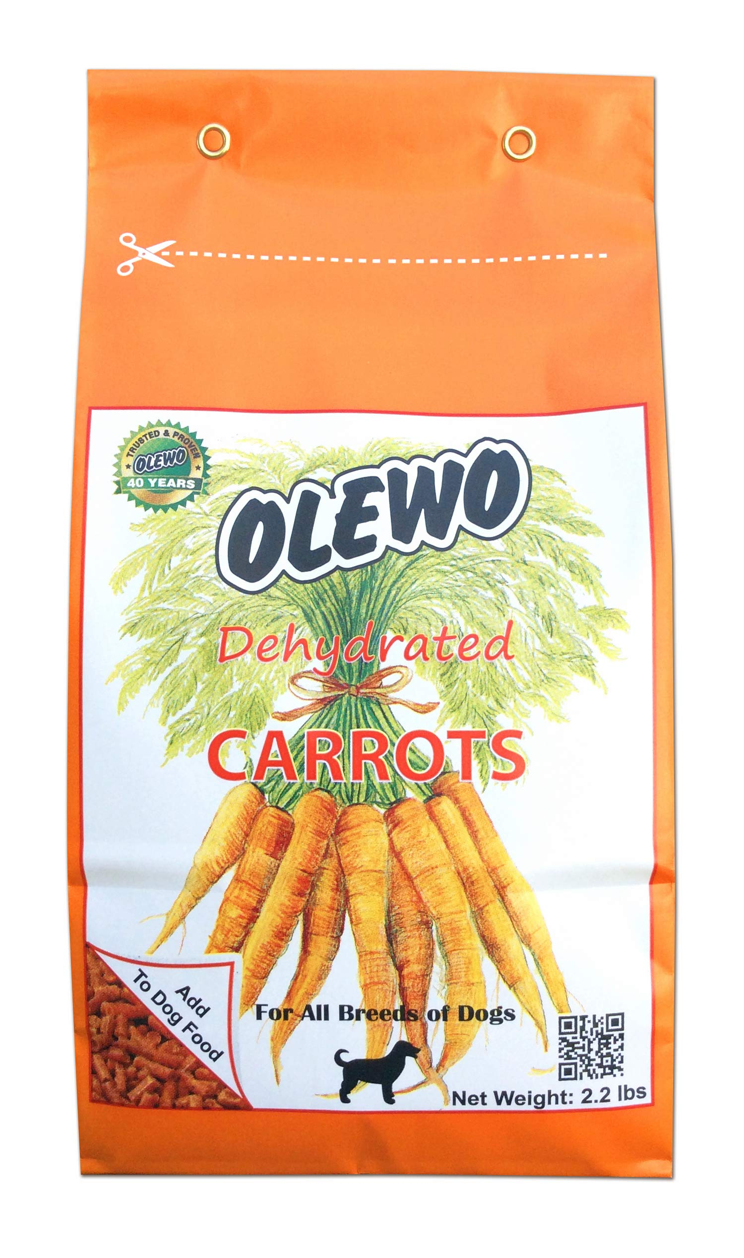 Olewo Dehydrated Carrots Dog Food Supplement, 2.2-Pound by Olewo
