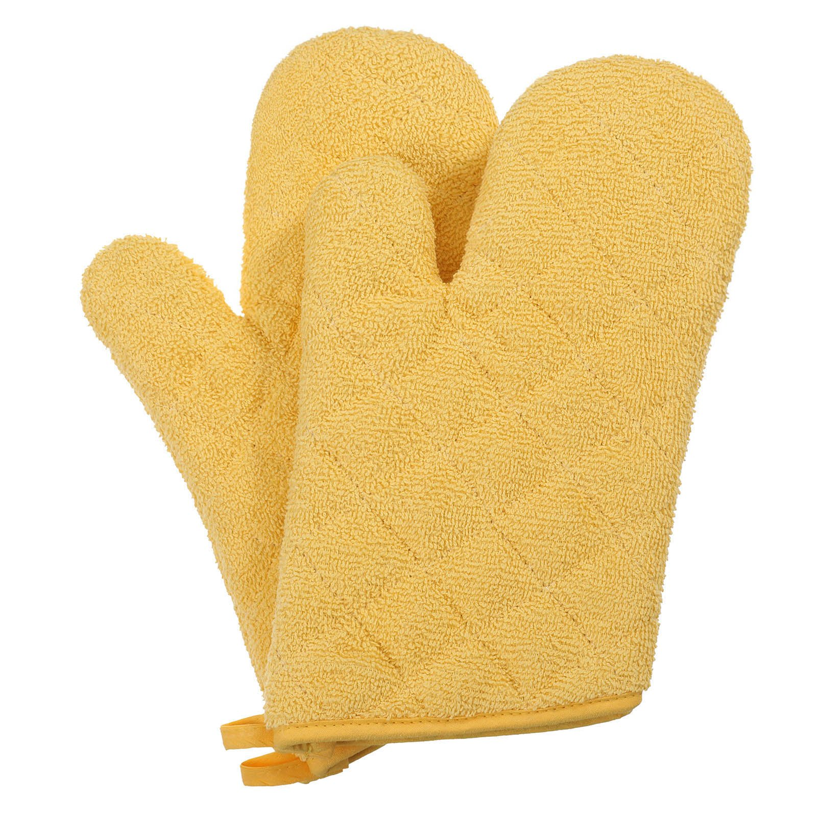 VEEYOO 100% Cotton Oven Mitts Kitchen Oven Gloves Heat Resistant Terry Oven Mitts 7x12, Yellow