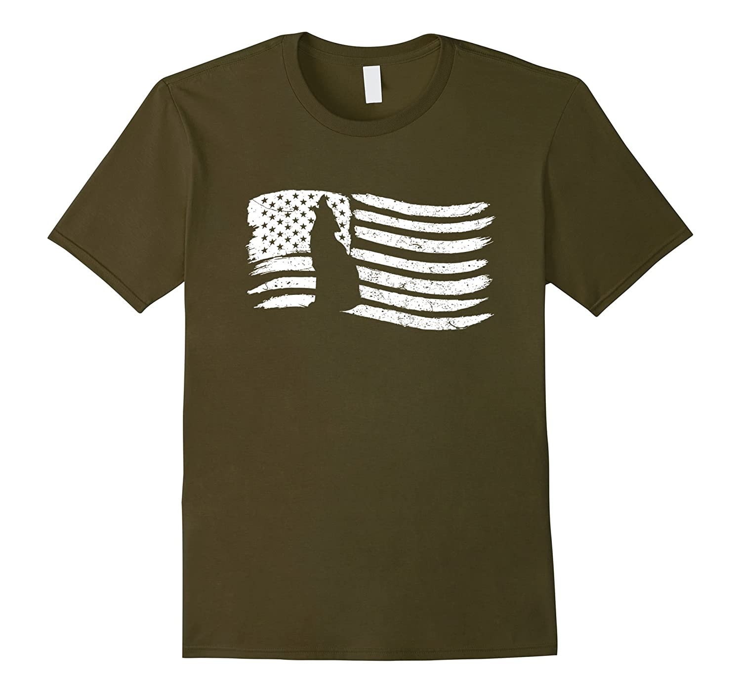 American Flag T-Shirt With Wolf Vintage Look-TH