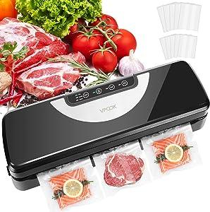 Vacuum Sealer Machine VPCOK Vacuum Sealers Food Vacuum Sealer Machines for Food Saver and Sous Vide Cooking Vacuum Packing Machine with Dry & Moist Food Modes Black
