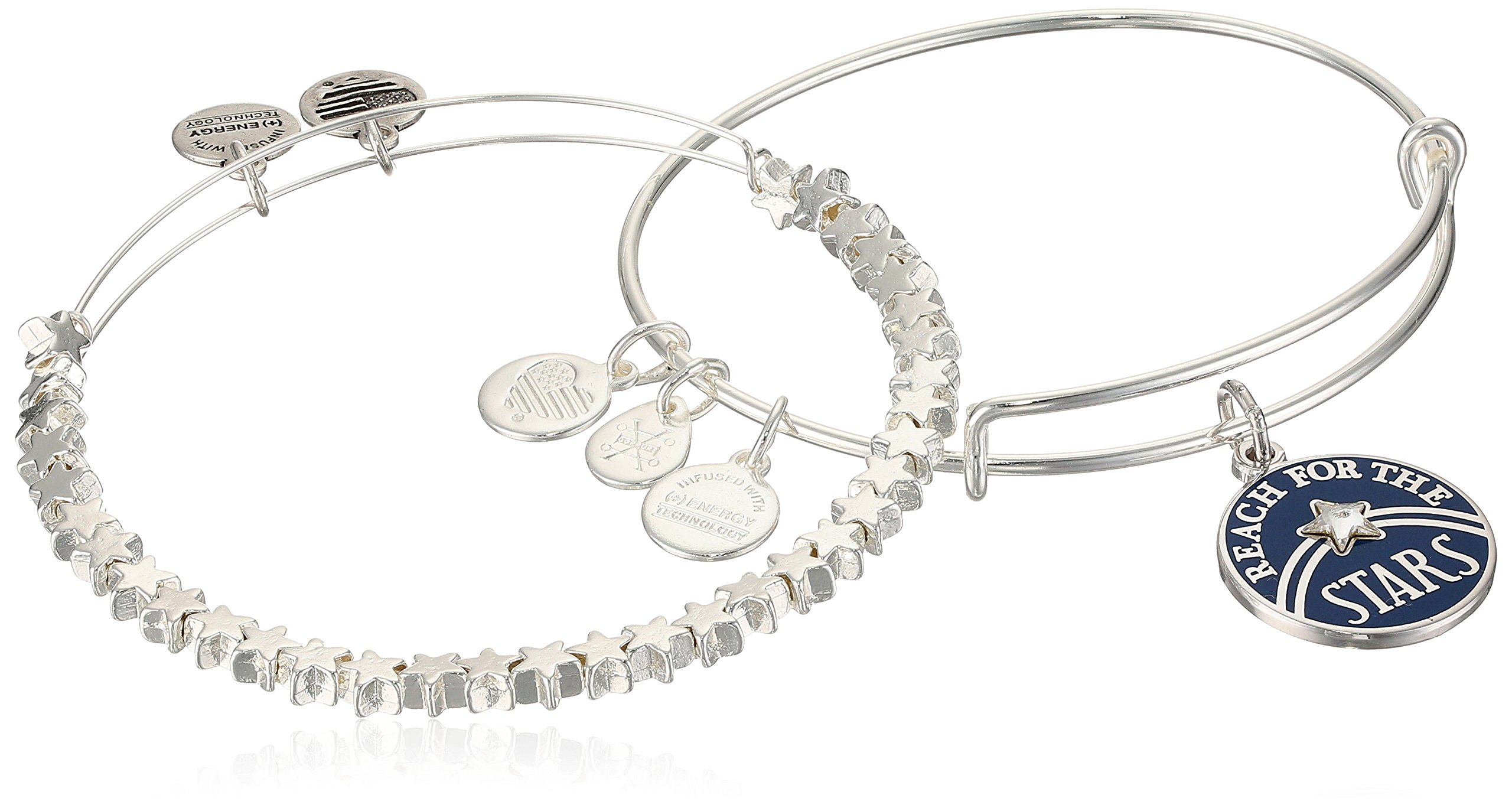 Alex and Ani Womens Reach for The Stars Set of 2 Bangle Bracelet, Shiny Silver, Expandable