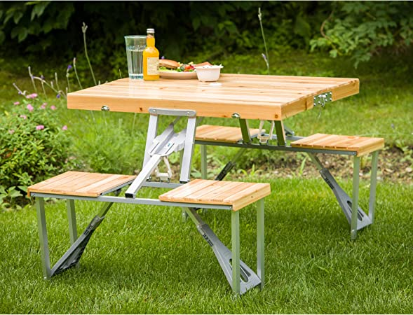Portable Folding Camping Picnic Table 4 Chair Set Outdoor Garden BBQ Wooden Wood