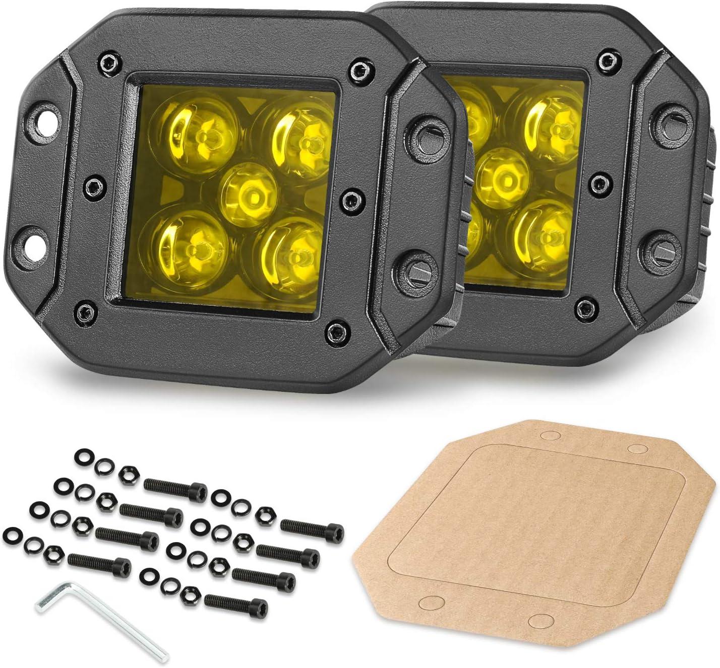 OFFROADTOWN 5inch 100W Flush Mount LED Pods Amber LED Fog Lights LED Cubes Spot Beam Yellow Flush LED Work Light Off Road LED Driving Light for Truck SUV ATV UTV Marine