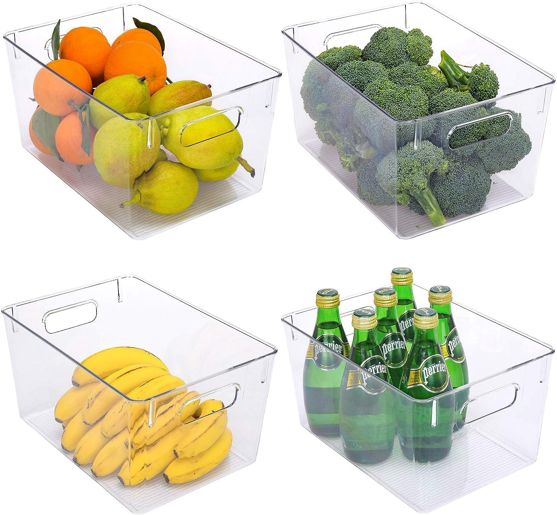 StorageWorks Large Clear Plastic Storage Bins, Food Storage Bins for Pantry, Kitchen or Cabinet, Pantry Storage Bins with Handles, BPA-Free, 11
