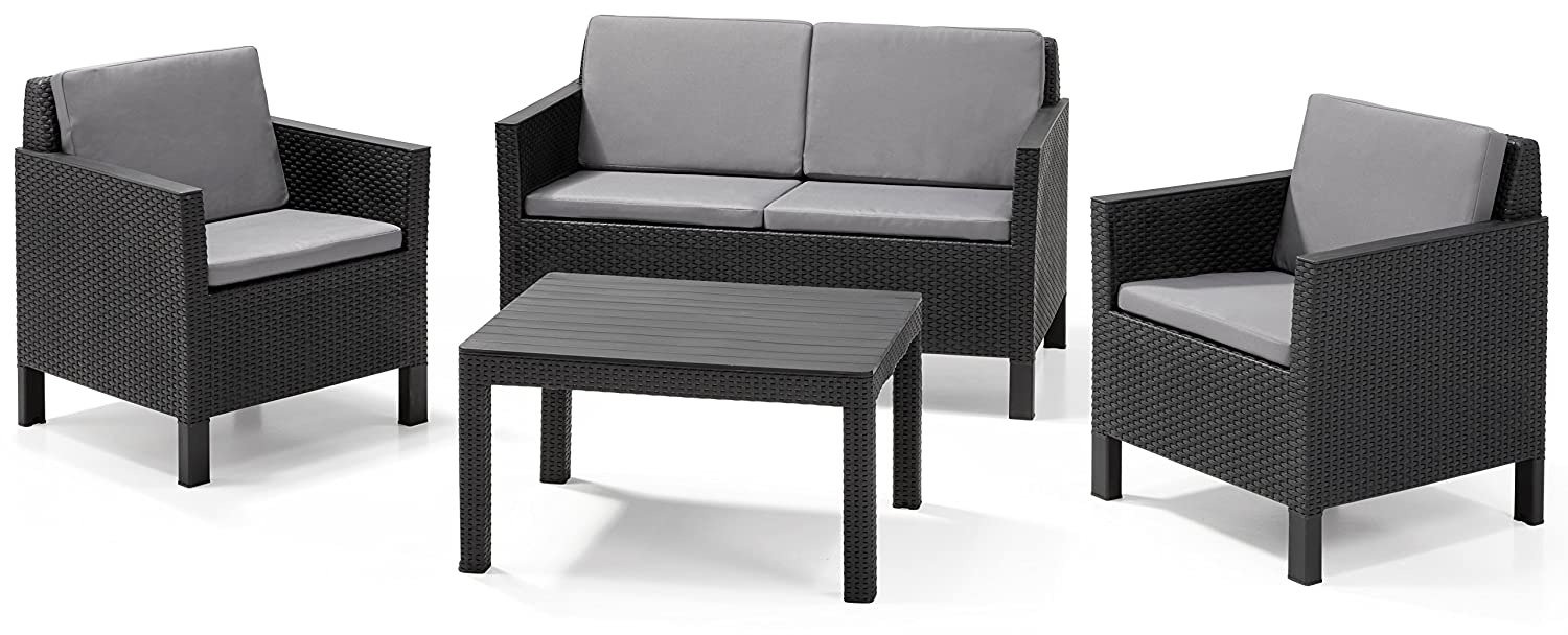 allibert lounge set chicago big table grau 4 teilig g nstig. Black Bedroom Furniture Sets. Home Design Ideas