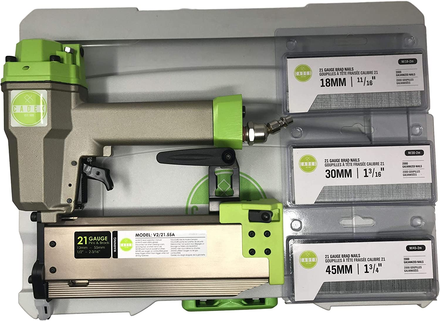 Cadex V2 21.55A 21 Gauge Pinner Brad Pin Nailer 1 2 – 2-3 16 Kit With Reverse Contact Safety, AND WITH SYSTAINER CASE 2,000EA 18MM, 30MM, AND 45MM Slight Headed Brads
