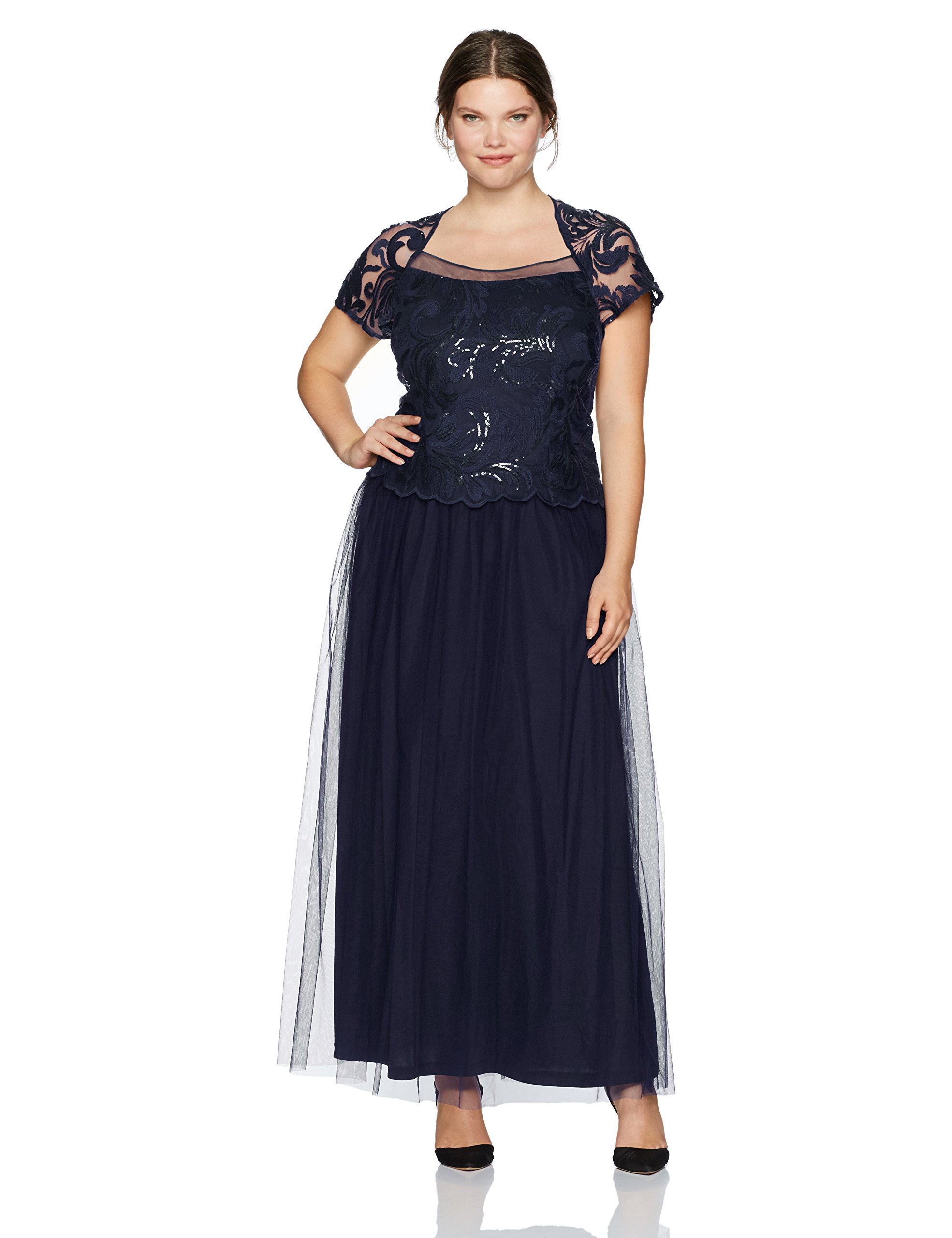 Le Bos Women's Plus Size Mock 2 PC Embroided Long Gown, Navy, 14W
