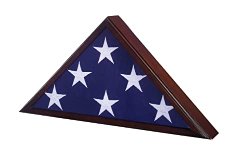 USMilitaryStuff Flag Case for American Veteran Burial Flag 5' x 9 5',  Cherry Finish