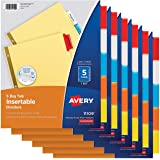 Avery 11109 5-Tab Binder Dividers, Insertable Multicolor Big Tabs, 6 Sets