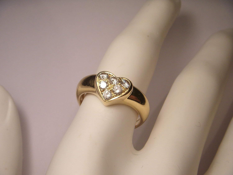 481b0e3c8 Amazon.com: Authentic 18K Yellow Gold Tiffany & Co. Diamond Pave Heart Ring  Band: Handmade