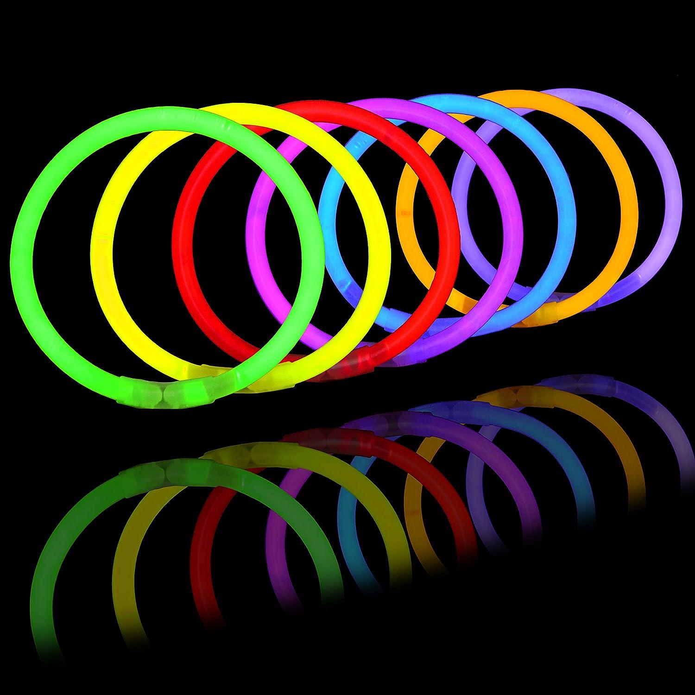 Glow Sticks Bulk 400 8 Glowsticks ; Glow Stick Bracelets; Glow Necklaces Light Up Party Supplies Pack with 400 Bracelet Connectors. Total 800 Pcs 7 Colors