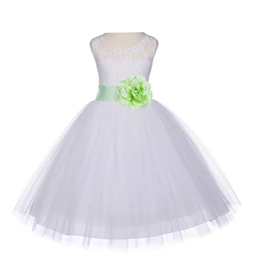 08a78c85c5f Ivory Floral Lace Bodice Tulle Flower Girl Dress Junior Bridesmaid Dress  153S 2