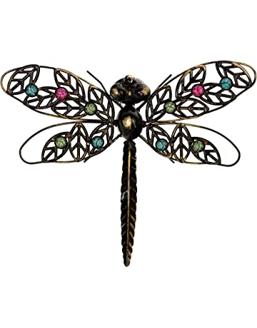8a1523529a east2eden Dark Metal Wall Art Hanging Dragonfly