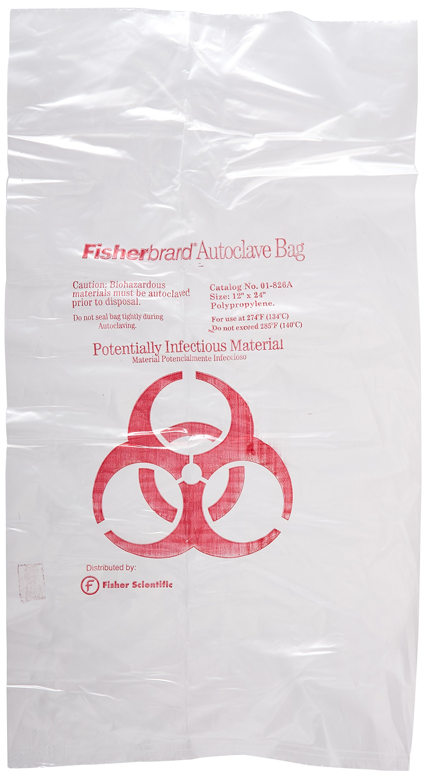 Fisher Scientific 01-826A Clear Polypropylene Biohazard Autoclave Bags, Printed, 12'' x 24'' (Pack of 200)