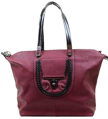 Amazon.com  Burgundy Vegan Faux Leather Large School Tote Bag Purse  Shoes 298318f52ecf9