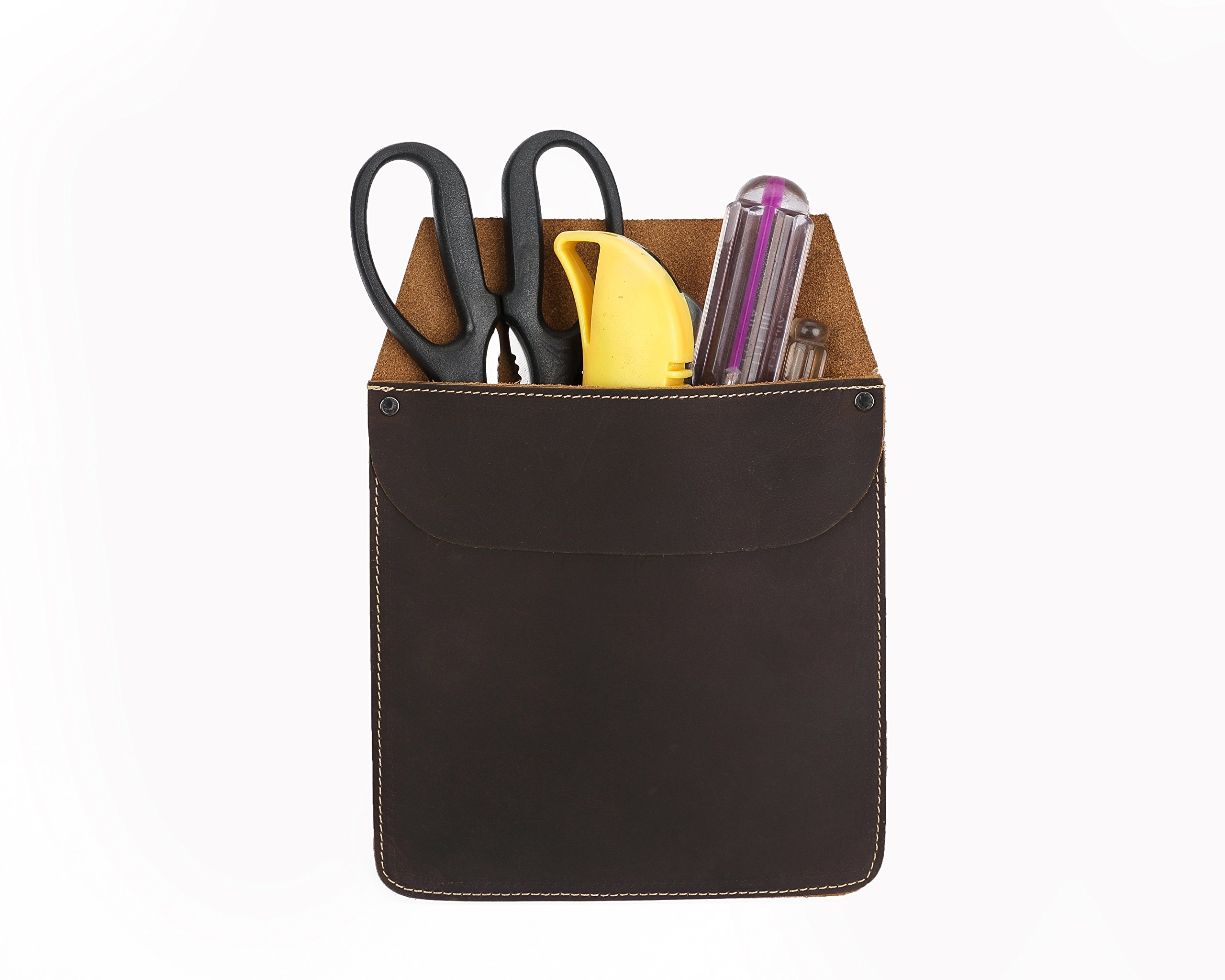 Genuine Leather Work Tool Pocket Chisel Tool Bag Waterproof Small Storage Pouch Organizer HBZ02-US (Brown)