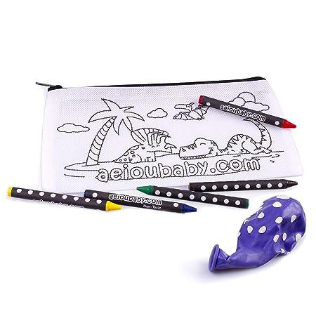 aeioubaby.com 10 Estuches para Colorear | 10 Bolsas Individuales con 5 Ceras de Colores y Globo | Regalo niños Fiestas y cumpleaños
