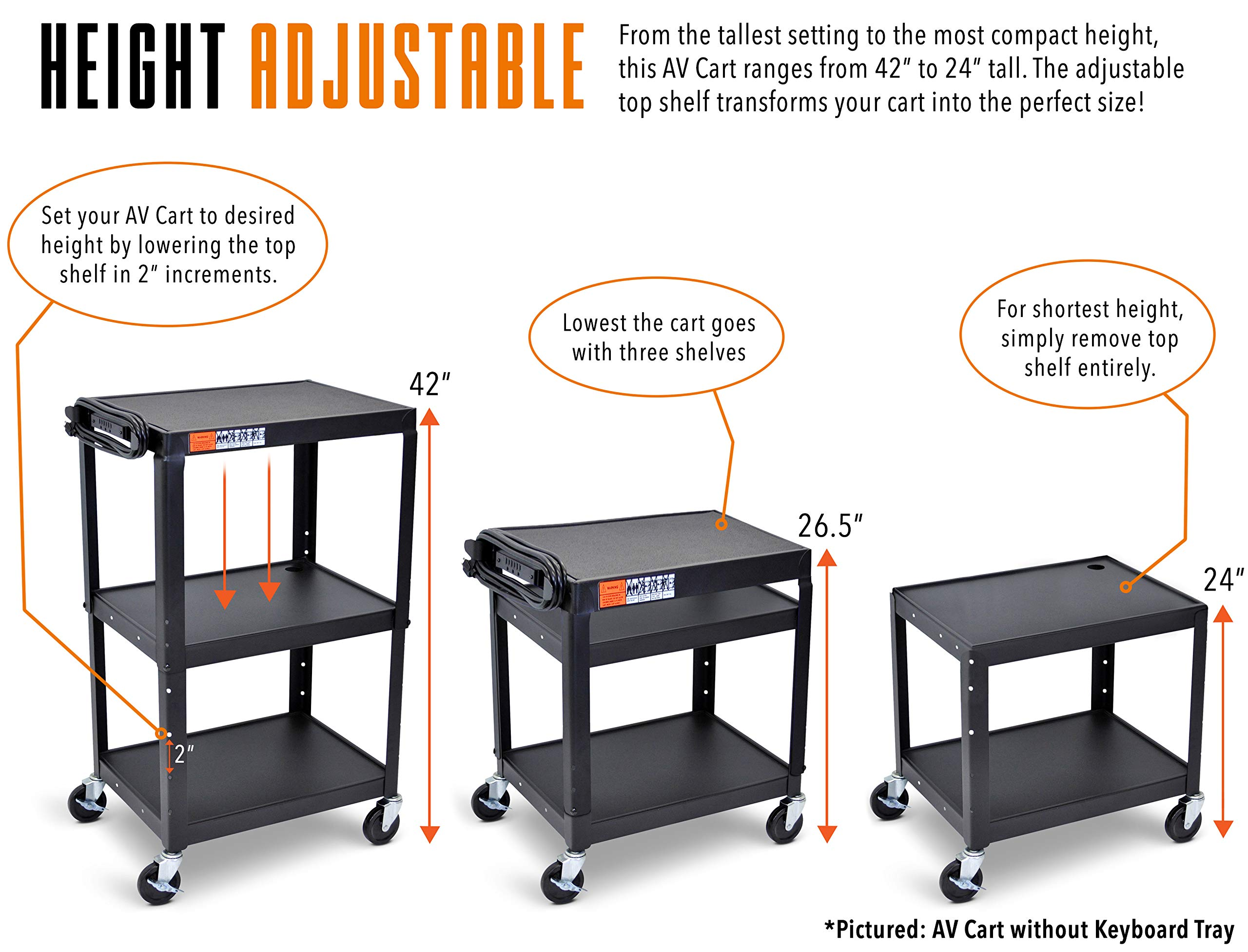 Line Leader Extra Wide AV Cart with Lockable Wheels -Adjustable Shelf Height- Includes Pullout Keyboard Tray and Cord Management! (42x32x20) (Extra Wide AV Cart - Black) by Stand Steady (Image #3)