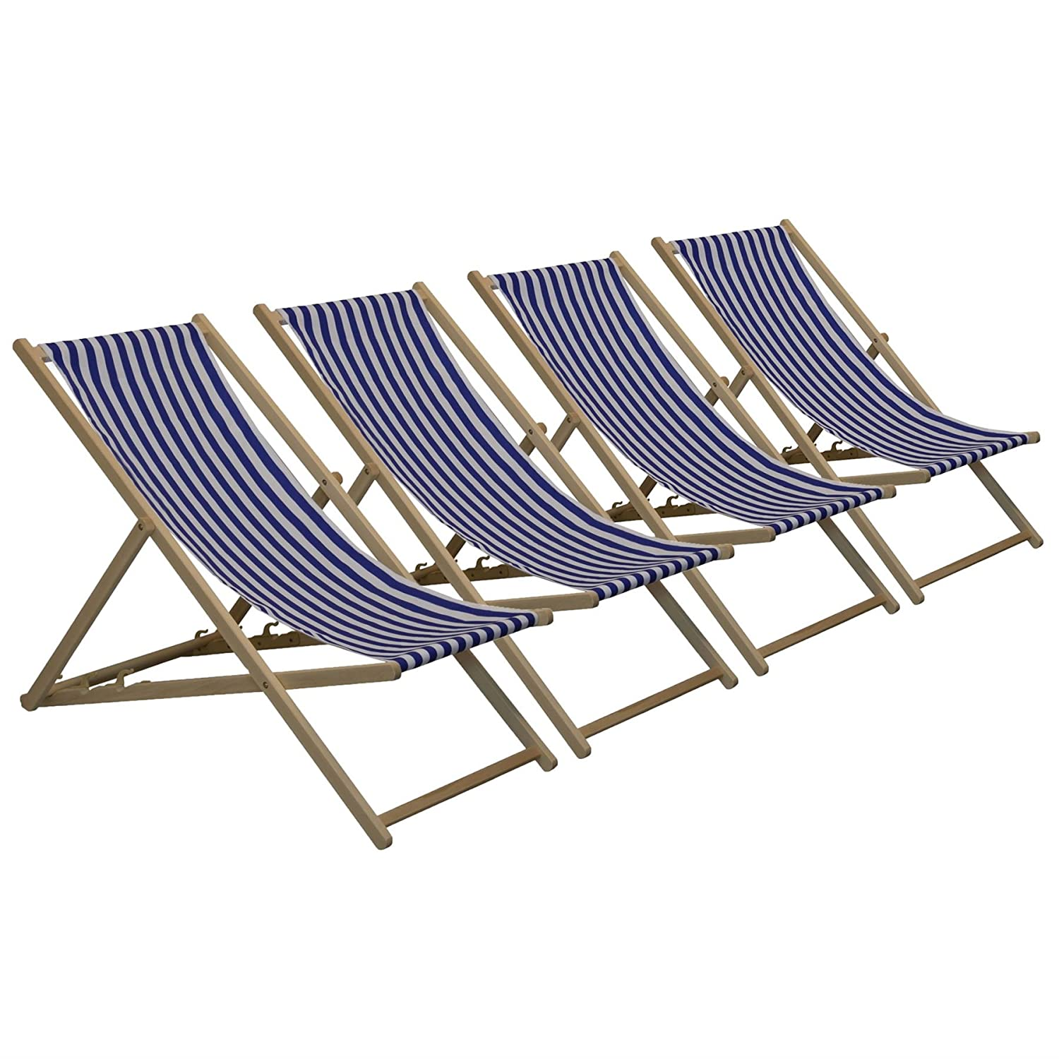 Traditional Adjustable Garden / Beach-style Deck Chair - Blue / White Stripe - Pack of 4 Harbour Housewares