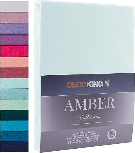 Decoking - Sábana bajera ajustable de 100 % algodón, White Amber Collection, algodón, azul claro, 80x200 - 90x200 Amber: Amazon.es: Hogar