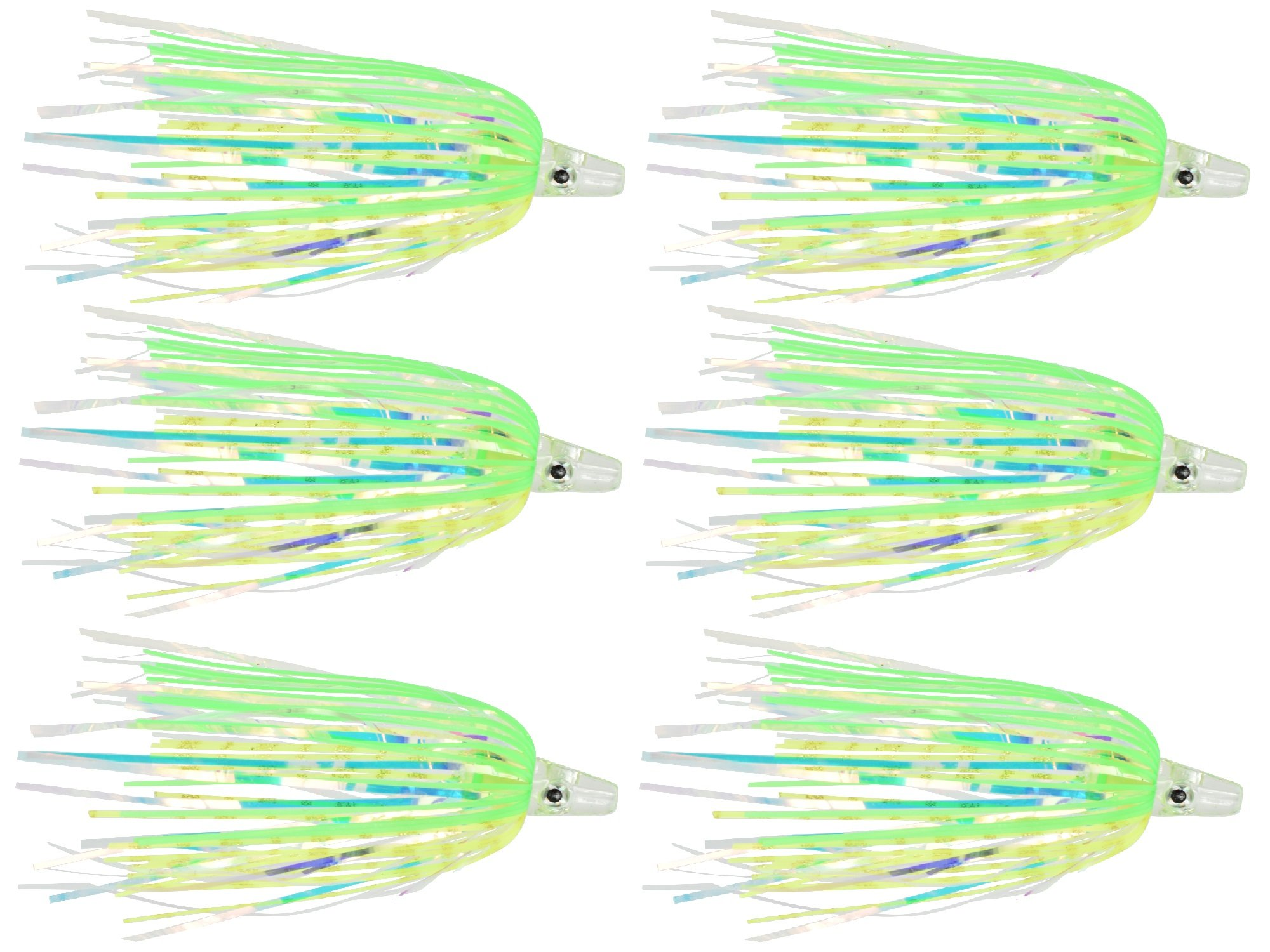 Last Cast Tackle Silicone Holo Teaser - 6 Pack - 5 Colors to Choose from (Green/Yellow) by Last Cast Tackle