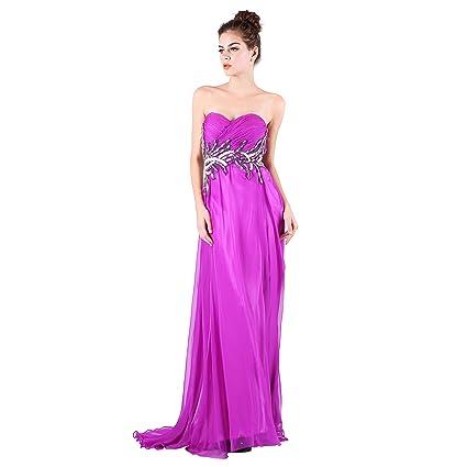 Dulamy&Finove Women Chiffon Beading Long Prom Evening Dresses (8, PURPLE)