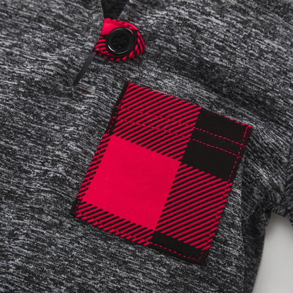 WARMSHOP Infant Toddler Boys Girls Long Sleeve Plaid Hoodie Warm Pullover Tops Pocket Sweatshirt Button Casyal Cloth