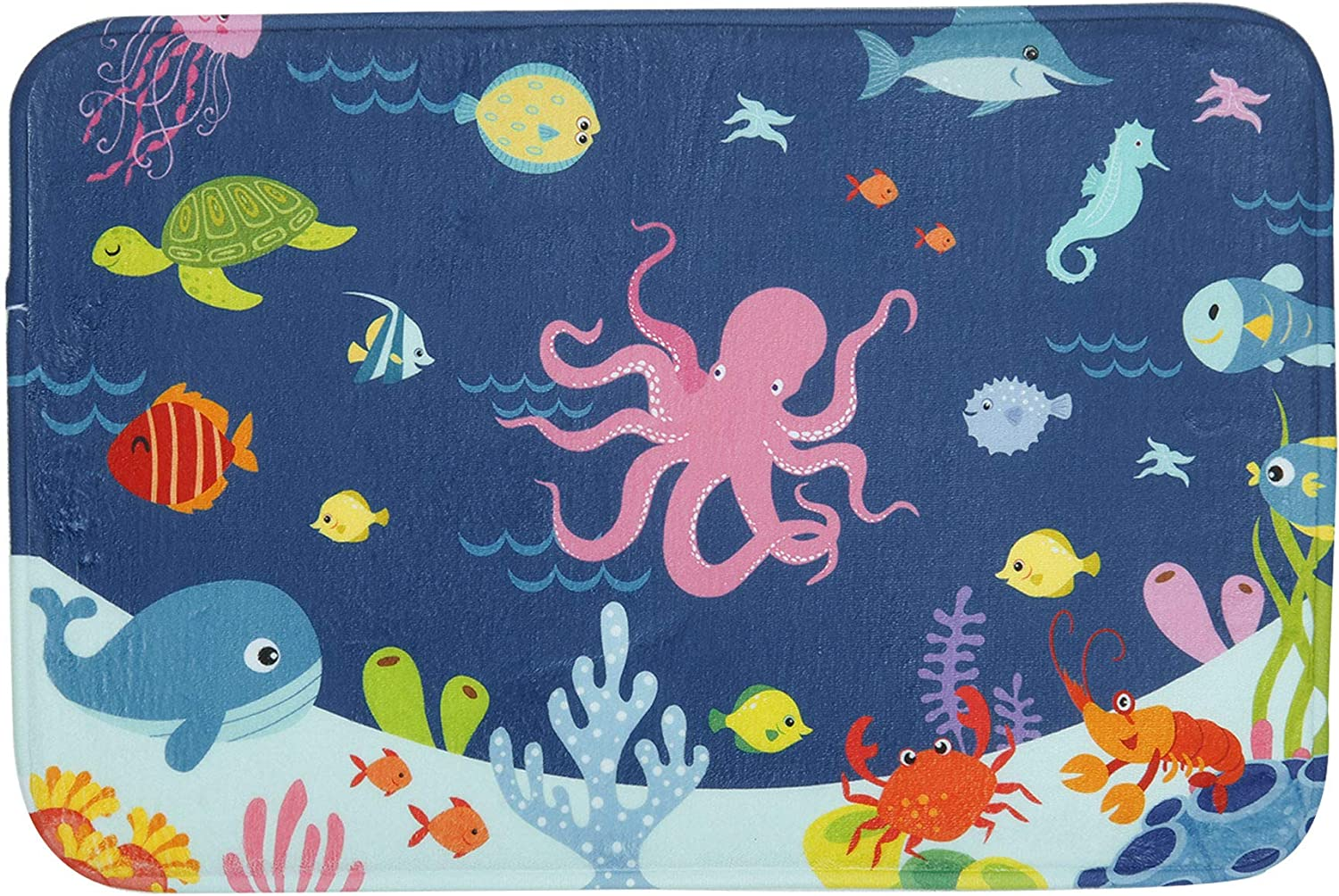 Bathroom Rug Mat, 24''X16'', Super Soft and Absorbent Shaggy Plush Nautical Sea Bath Rugs for Kids, Thicken, Non Slip, Carpet Mats for Shower and Bathroom, Cartoon Octopus Undersea Animals World