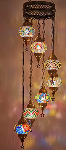 DEMMEX Turkish Moroccan Mosaic Hardwired OR Swag Plug in Chandelier Light Ceiling Hanging Lamp Pendant Fixture 7 x 4.5 Globes – Hard-Wired