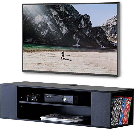 FITUEYES Madera Grano Mesa Flotante para TV Mueble para TV en la Pared Color Negro DS210002WB: Amazon.es: Electrónica